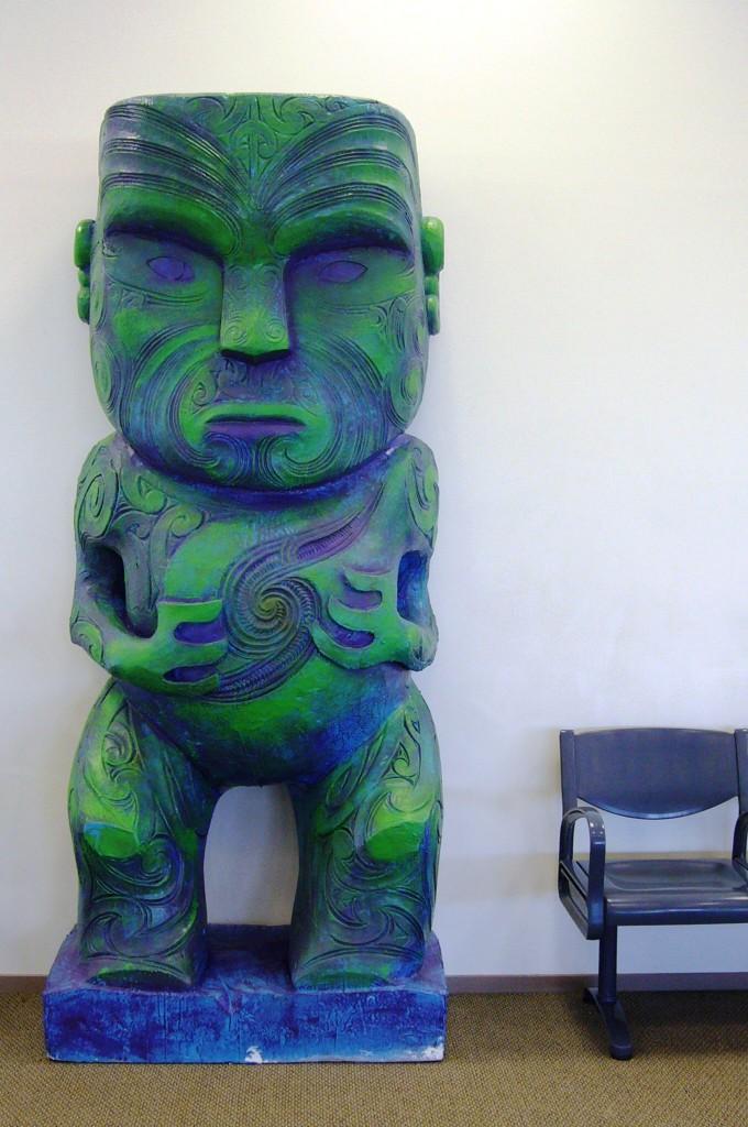 Rotorua  - blue gree statue