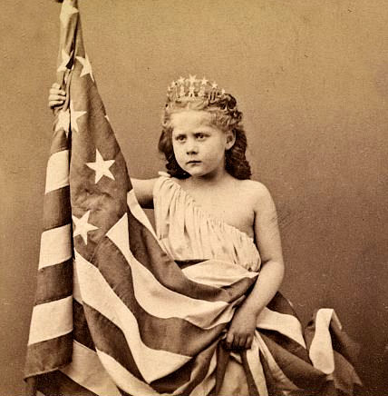 Vintage - Girl with American Flag photo