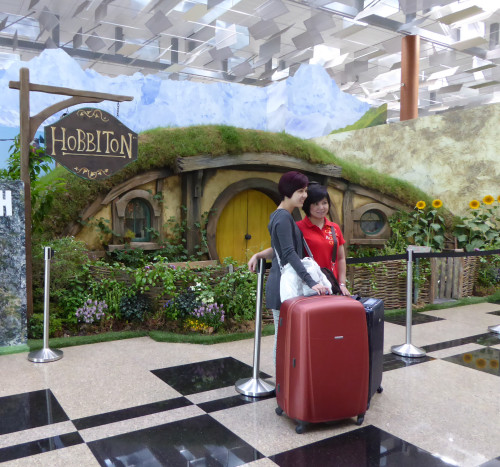 Air New Zealand has set up a Hobbit hole  in the departure hall of Terminal 3.