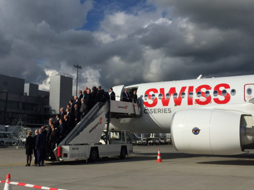 Star Alliance CEOs posing for celebratory photo on arrival in Zurich